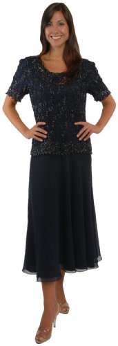 The Evening Store Great Tea Legnth Dress in Navy (1X)