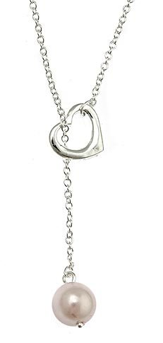 Sterling Silver Open Heart Lariat Necklace