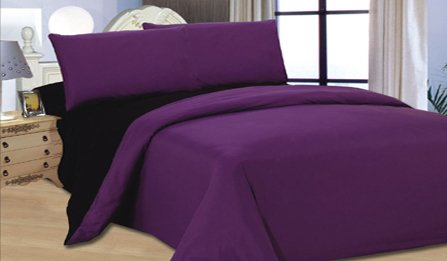 Complete Double, Reversible Blackcurrant Purple/ Black, Duvet Cover and Fitted Sheet Bed Set by Viceroybedding