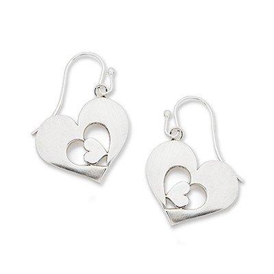 925 Silver Heart To Heart Hook Earrings