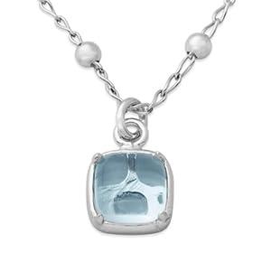 Joy Jewels Damen-Halskette 925 Sterling Silber Blau Topas Anhänger 41cm JA163N