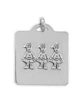 Sterling Silver 41mm X 33mm Square Pendant With Three Boys Charm - JewelryWeb