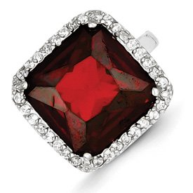 Genuine IceCarats Designer Jewelry Gift Sterling Silver Square Clear & Red Cz Ring Size 9.00