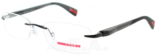 prada Prada (Linea Rossa) PS53DV Eyeglasses-1BO/1O1 Black Demi Shiny-53mm