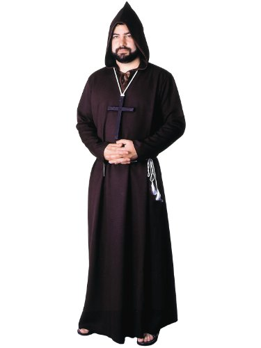 Mens Religious Theatre Costumes Brown Renaissance Robe Monk Priest