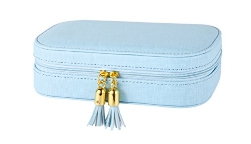 Vlando Small Tassels Jewelry Box Girls Gift Case (Blue)