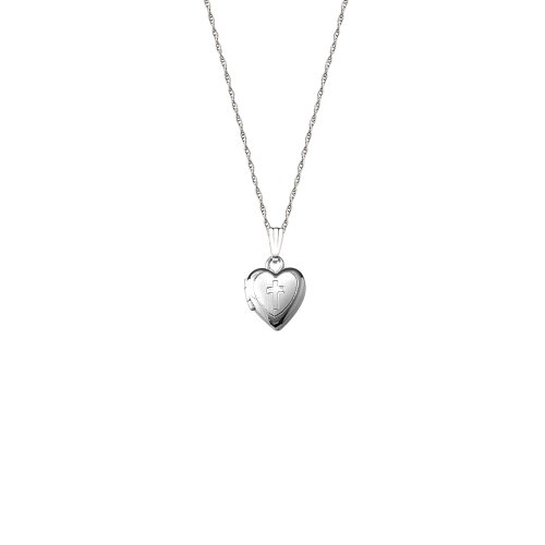 14k White Gold Children's Heart Locket with Engraved Cross Necklace, 13