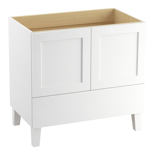 Kohler K-99532-Lg-1Wa Poplin Vanity With Furniture Legs 2 Doors And 1 Drawer, 36-Inch, Linen White