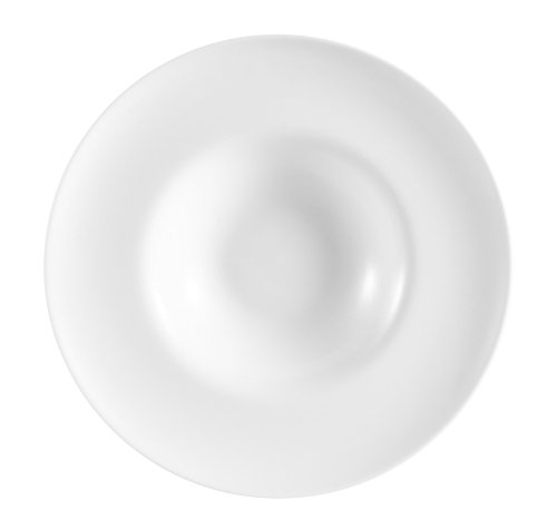 CAC China FDP-11 Paris-French Round 11-Inch 12-Ounce Super White Porcelain Thin Pasta Bowl, Box of 12