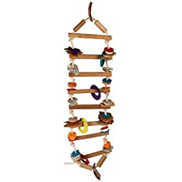 Planet Pleasures Rope Ladder Natural Bird Toy, Large/30\