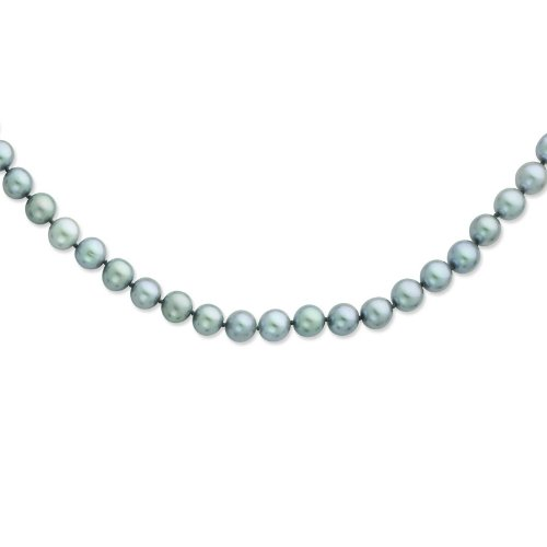 Silver 8-9mm Grey Freshwater Cultured Pearl Necklace. 24in long Necklace.