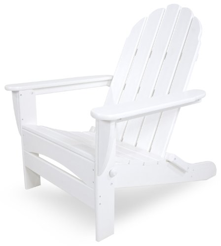 CASA BRUNO Classic Oversized Adirondack Chair, foldable, made of recycled Polywood® HDPE lumber, white - unconditionally weather-resistant