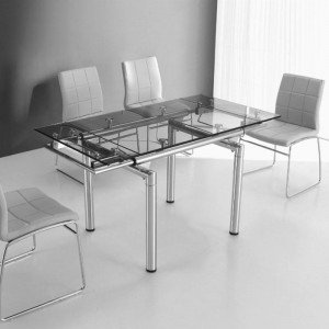 Table en verre a rallonge extensible 145 100 x 75 cm for Salle a manger quartz