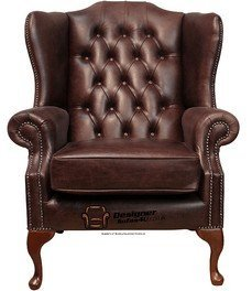 Chesterfield Mallory ala con schienale alto, prodotto nel Regno Unito a mano tinta Old English in pelle marrone scuro