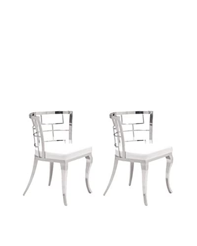 Zuo Modern Quince Set of 2 Modern Side Chairs, White