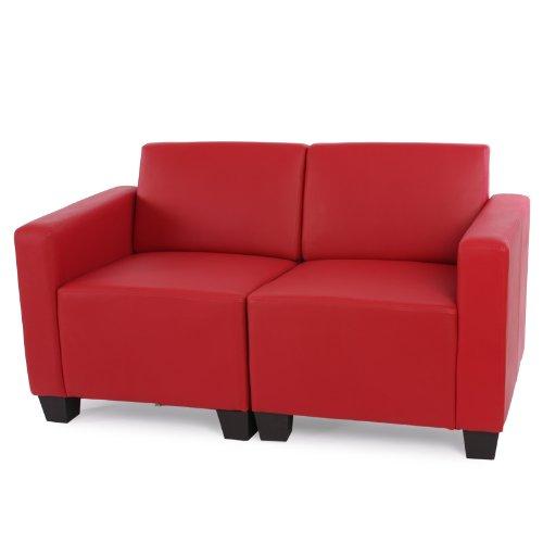 Modular 2-Sitzer Sofa Couch Lyon, Kunstleder ~ rot