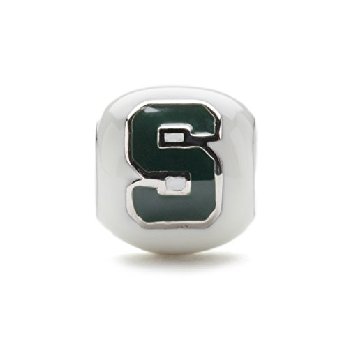 Michigan State Spartan White Block S Bead Charm Jewelry - Stainless Steel