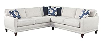 Nicole 2 Piece Neutral Fabric Contemporary Track Arm Sectional Sofa Couch
