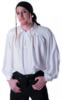 White - Men's Button Shirt - Victorian Steam Punk Gothic LARP Fancy-Dress Whitby Festival. Size 2XL-3XL
