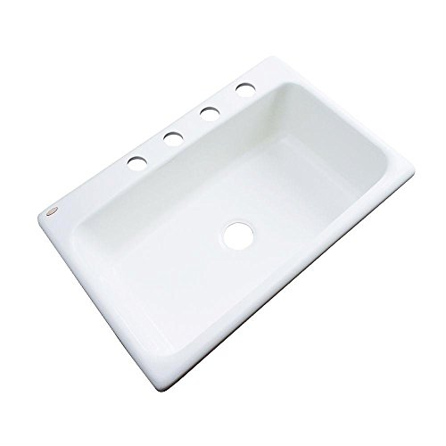 Manhattan Drop-in Acrylic 33 in 4-Hole Single Bowl Kitchen Sink in White (White Plumbers Putty compare prices)
