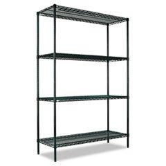 - All-Purpose Wire Shelving Starter Kit, Four-Shelf, 48w x 24d x 72h, Green