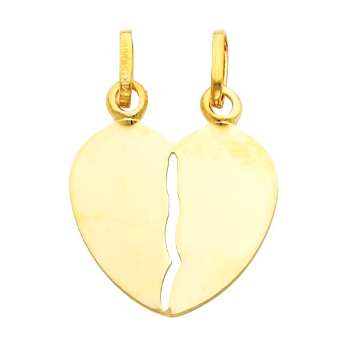 14K Yellow Gold Broken Heart Charm Pendant