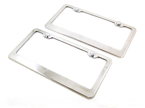 PerfecTech 2 Pcs Universal Polished Stainless Steel Plain Blank Metal Front Rear License Plate Tag Frame Cover Caps With 2 Holes (Plain Metal License Plate Frame compare prices)