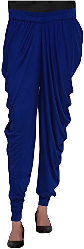 TRENDZONE Women's Viscose Loose Fit Side Cowl Pant (Dark Blue, XXL)