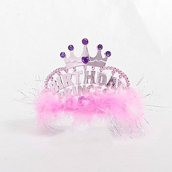 New One Rhode Island Novelty Birthday Marabou Princess Pink Tiara