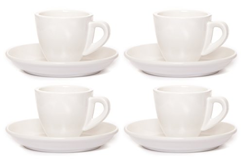 Clevercafé Venezia Classic White Porcelain 2 Ounce Espresso Cup and Saucer, Set of 4 (Expresso Cups With Stand compare prices)