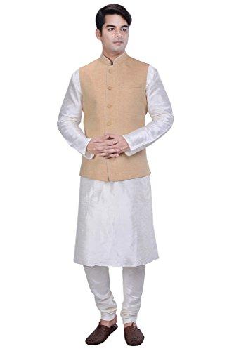 KISAH-Mens-White-Cotton-Silk-kurta-and-Churidar-with-Yellow-Linen-Nehru-Jacket
