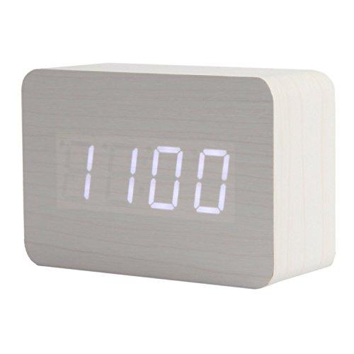 teika digital led wooden clock wood alarm clock compact. Black Bedroom Furniture Sets. Home Design Ideas