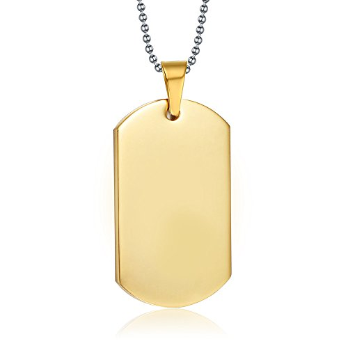 Free Engraving-Personalized Custom Message 18K Gold Stainless Steel Dog Tag Necklace Pendant (Personalized Dog Tags For Couples compare prices)