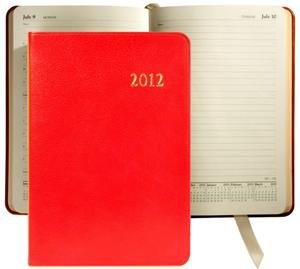 2012 Genuine 'Brights' Red Leather Daily Journal 8'' by Graphic Image - 5.5x8