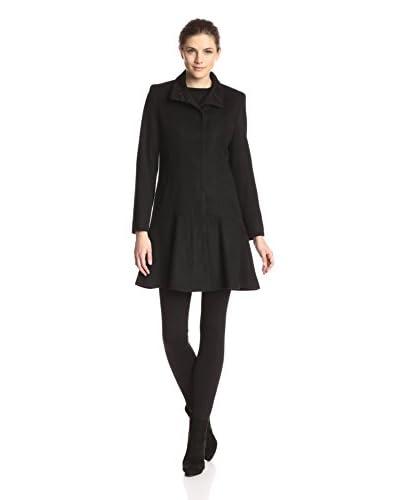 Sofia Cashmere Women's Flounce Hem Coat  [Black]