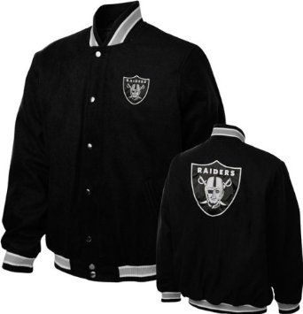 Oakland Raiders Varsity Jacket (Black, 5X-Large) at Amazon.com