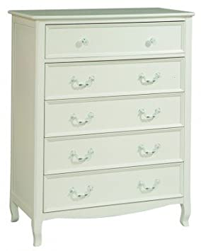 Bolton Furniture 8311500 Emma French-Inspired 5 Drawer Chest, White