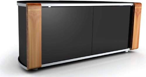 MDA Designs Sirius 850 Remote Friendly Beam Thru Glass Door Walnut / Oak Changable Panels High Gloss Piano Black with Brushed Aluminium Trim 26