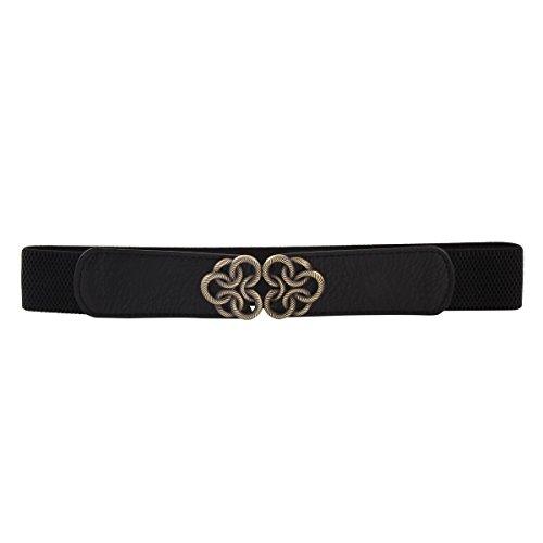 Damara Women Metal Flower Interlocking Buckle Stretch Band Cinch Belt,Black (Skinny Stretch Belt compare prices)