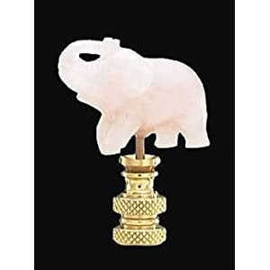 B&P Lamp Pink Carved Stone Elephant Finial, 1/4-27F