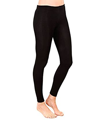 NEW WOMEN'S FULL ANKLE LACED LENGTH STRETCH QUALITY LEGGINGS (Large UK 14, Black)