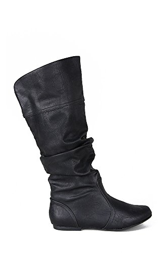 Qupid Neo-144 Slouchy Knee High Flat Boot - Black PU