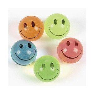 Fun Express Mini Neon Smile Face Bouncing Balls (144 Piece)