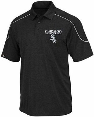 Chicago White Sox Majestic Run Down Synthetic Polo Shirt Black Big & Tall Sizes