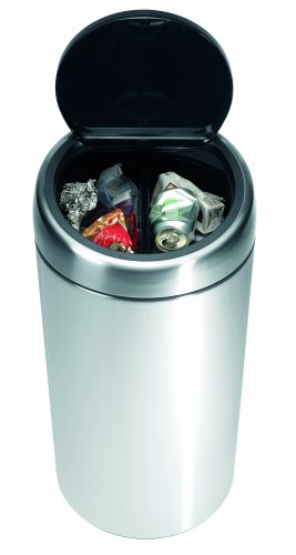 Brabantia Touch Bin Twin Bin with Plastic Buckets, 2 x 20 Litre, Matt Steel