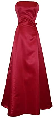 50′s Strapless Satin Long Gown Bridesmaid Prom Dress Holiday Formal Junior Plus Size