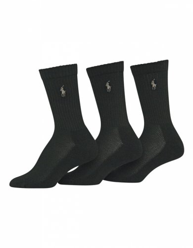 Lauren Ralph Lauren 3-Pack Sport Cushion Crew Sock 7310Pk 9-11 Shoe Size 5-9/Black