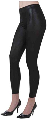 Forum Novelties 1980's Costume Shiny Black Stretch Leggings - Standard