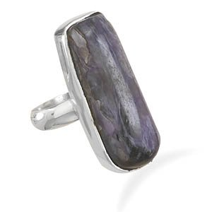 Sterling Silver Freeform Charoite Ring / Size 6