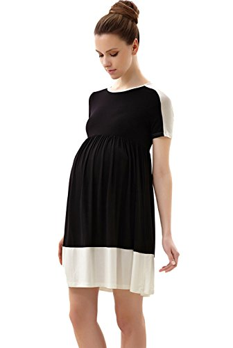 Momo Maternity Colorblock Skater Dress - Black M